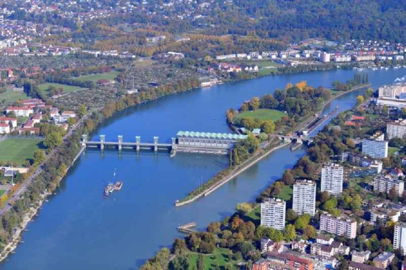 Rhine river course with lock, hydro powerplant and island in Birsfelden in the canton Basel-Landschaft, Switzerland