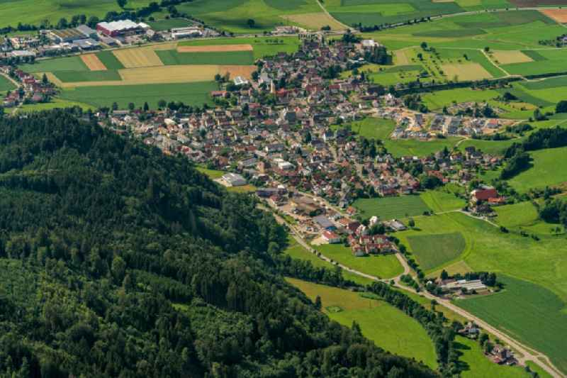 Surrounded by forest and forest areas center of the streets and houses and residential areas in Bleibach in the state Baden-Wuerttemberg, Germany