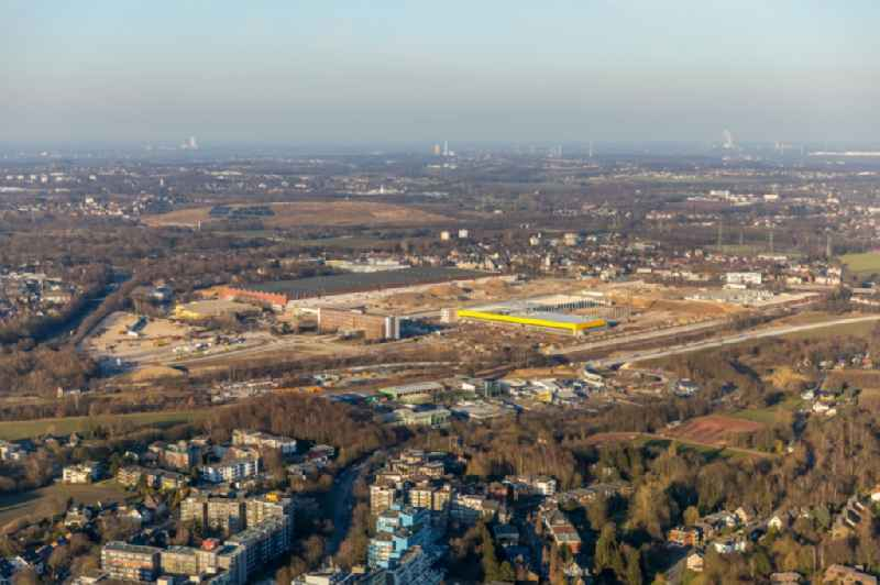 Construction site to build a new building complex on the site of the logistics center in the development area MARK 51A?7 in Bochum in the state North Rhine-Westphalia, Germany