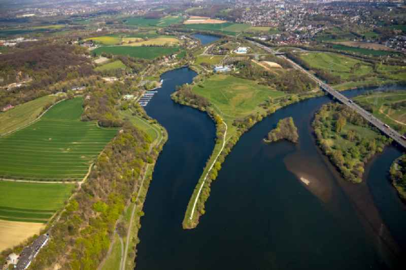 Riparian areas on the lake area of Kemnader See in Witten in the state North Rhine-Westphalia.