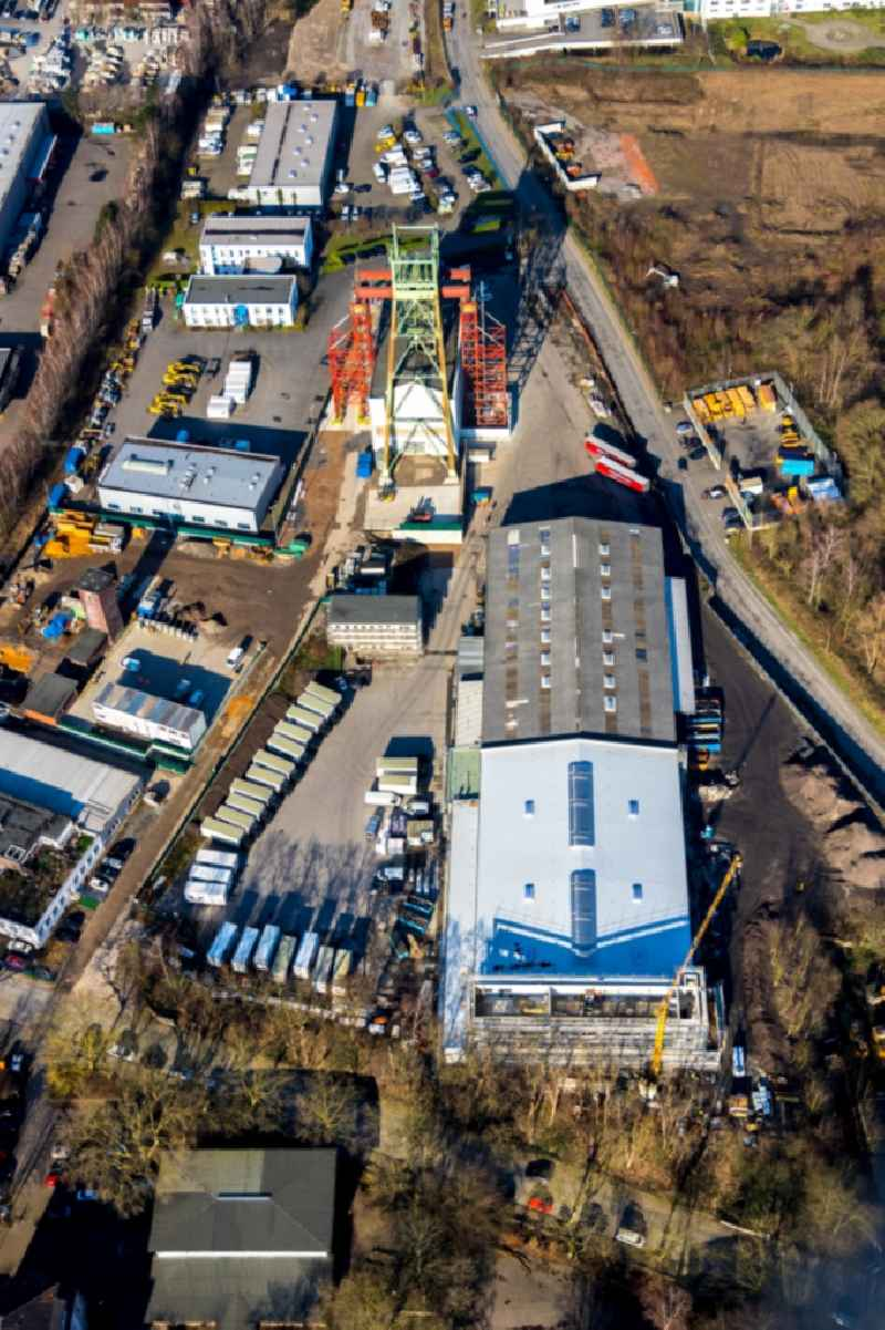 Conveyors and mining pits at the headframe formerly Zeche Robert Mueser on Von-Waldthausen-Strasse in the district Werne in Bochum in the state North Rhine-Westphalia, Germany. Further information at: GEOBAU GmbH,  RAG Montan Immobilien GmbH.