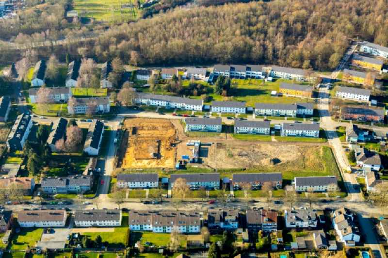 Residential construction site with multi-family housing development- on the on Rutgerweg - Im Noerenberger Feld in the district Werne in Bochum in the state North Rhine-Westphalia, Germany. Further information at: Vivawest Wohnen GmbH.