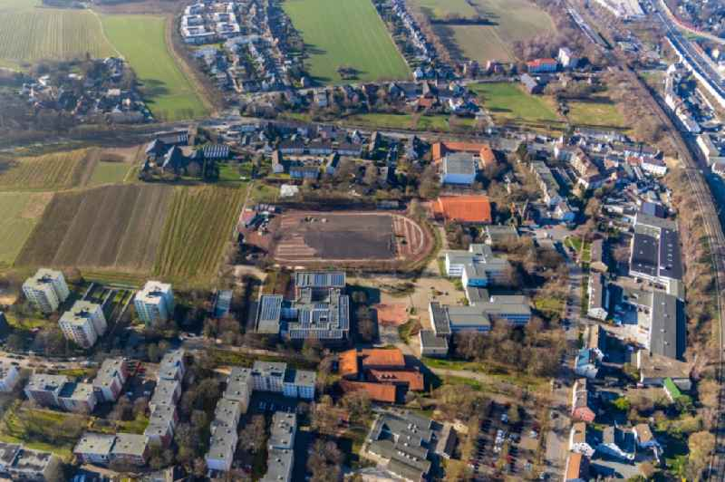 Construction of new Ensemble of sports grounds with renovation works on Passweg overlooking the school buildings of the 'Maria-Sibylla-Merian-Gesamtschule' and the 'Hellweg-Schule Staedt. Gymnasium' in the district Westenfeld in Bochum in the state North Rhine-Westphalia, Germany