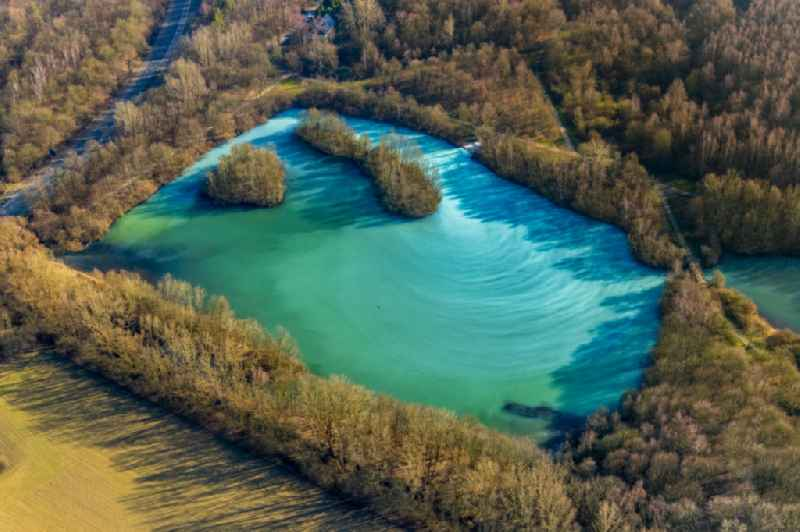 Shore areas of the ponds for fish farming ' Harpener Teiche ' in the district Werne in Bochum in the state North Rhine-Westphalia, Germany.