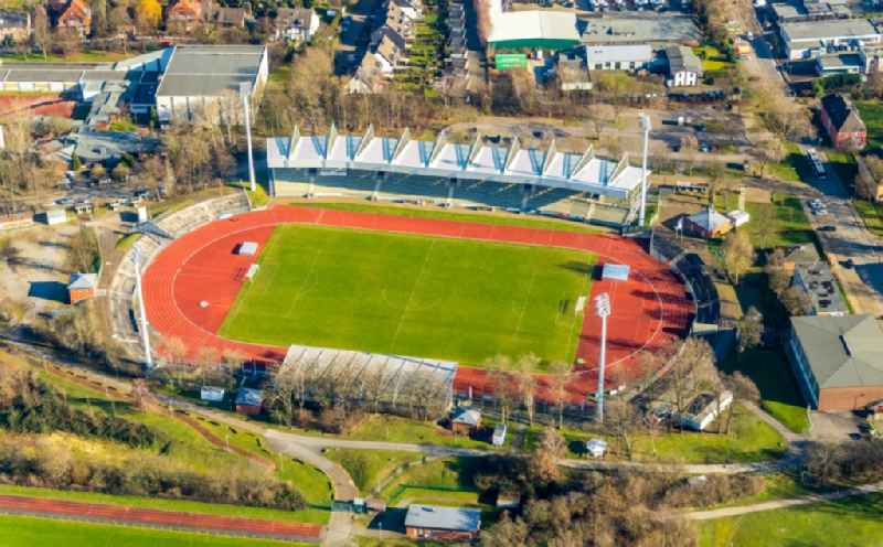 Sports facility grounds of the Arena stadium  Lohrheidestadion in the district Wattenscheid in Bochum in the state North Rhine-Westphalia