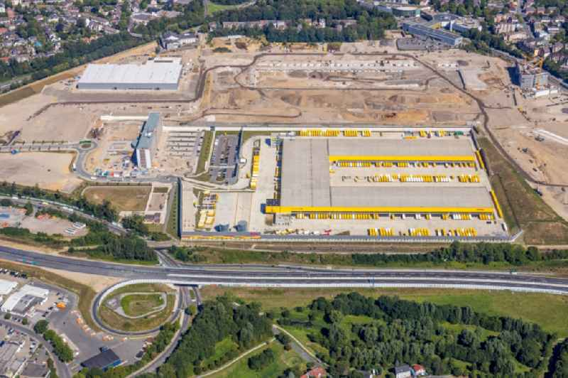New building complex of DHL parcel and logistics center in the development area MARK 51A?7 in Bochum in the state North Rhine-Westphalia, Germany
