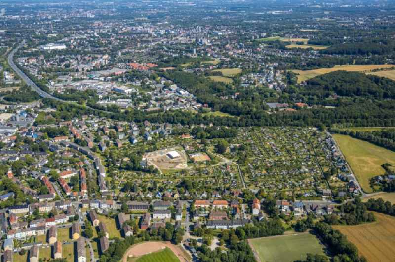 Construction site with development and excavation work for a play, sports and recreation area on Heideweg in the district of Riemke in Bochum in the state of North Rhine-Westphalia, Germany