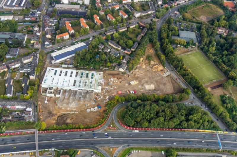 Construction site for new construction building of the construction market on Berliner Strasse in the district Wattenscheid in Bochum in the state North Rhine-Westphalia, Germany