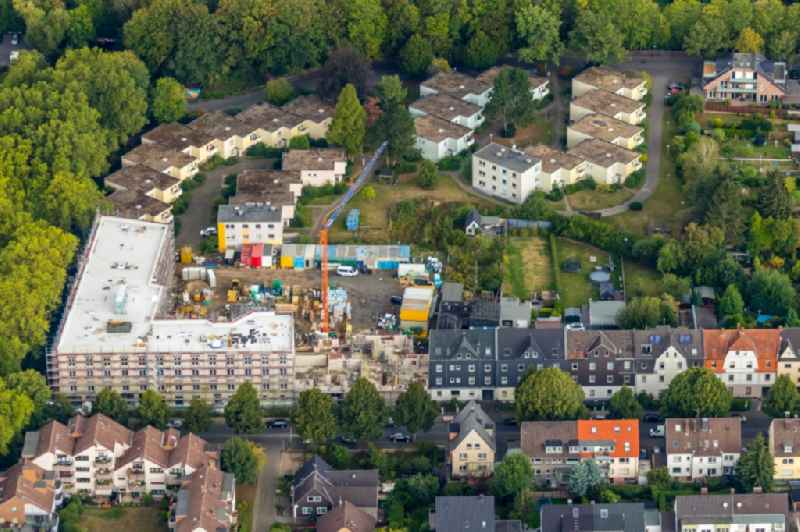 Construction site from the construction of a senior and age-appropriate residential complex of living quarters 'Am Beisenkamp' Am Beisenkamp - Parkstrasse in the district Wattenscheid in Bochum in the state North Rhine-Westphalia, Germany