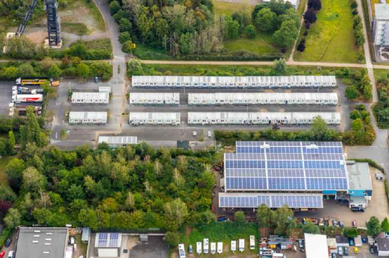 Container settlement as temporary shelter and reception center for refugees on Emil-Weitz-Strasse in the district Wattenscheid in Bochum in the state North Rhine-Westphalia, Germany