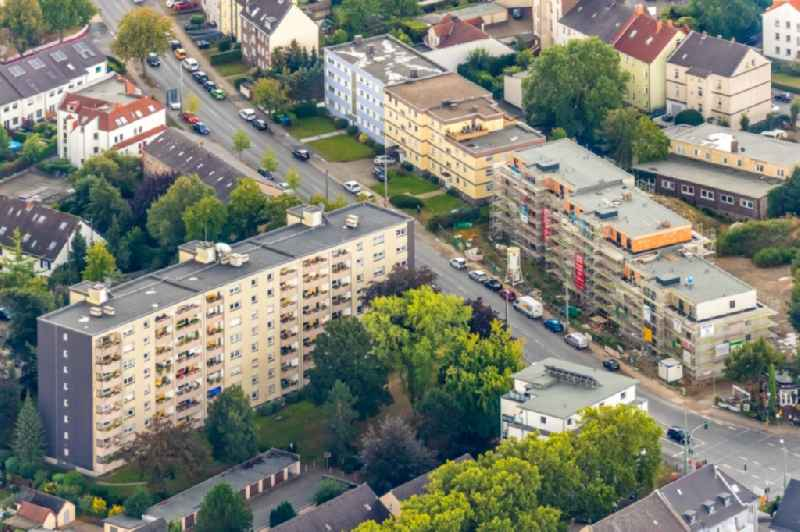 Construction site to build a new multi-family residential complex on Marienstrasse in the district Wattenscheid in Bochum in the state North Rhine-Westphalia, Germany