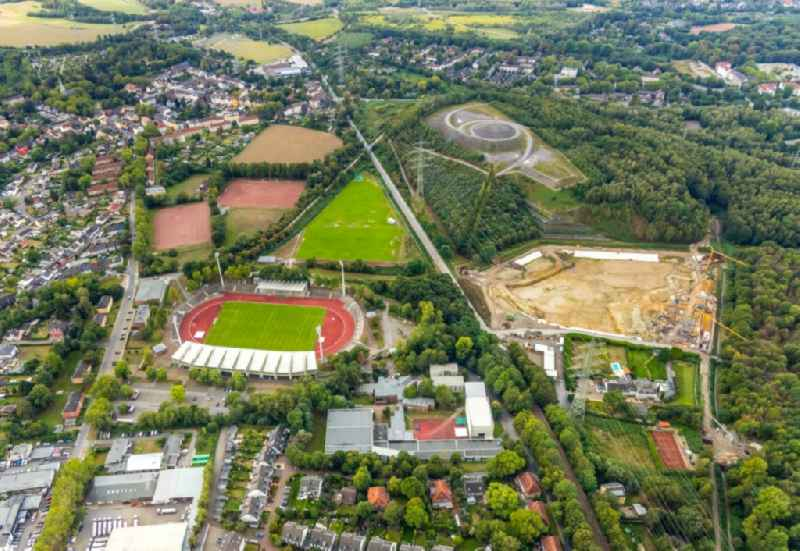 Sports facility grounds of the Arena stadium Lohrheidestadion overlooking the 'Landmarke Himmelstreppe' by the artist Herman Prigann on a former slag heap in the district Wattenscheid in Bochum in the state North Rhine-Westphalia