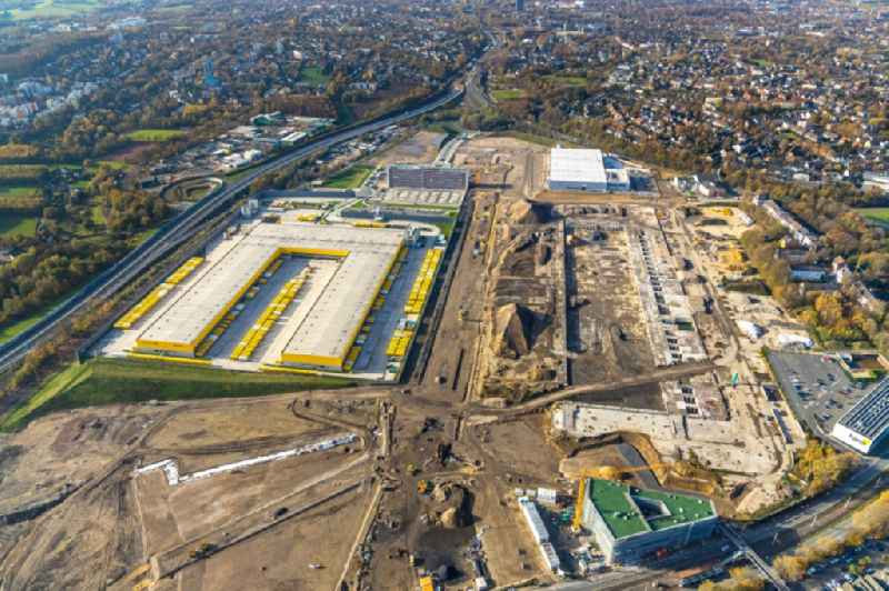 New building complex of DHL parcel and logistics center in the development area MARK 51A7 in Bochum in the state North Rhine-Westphalia, Germany