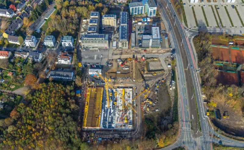 Construction site for the mixed development of residential and commercial space on the Seven-Stones-Areal at Universitaetsstrasse in Bochum in the federal state of North Rhine-Westphalia, Germany
