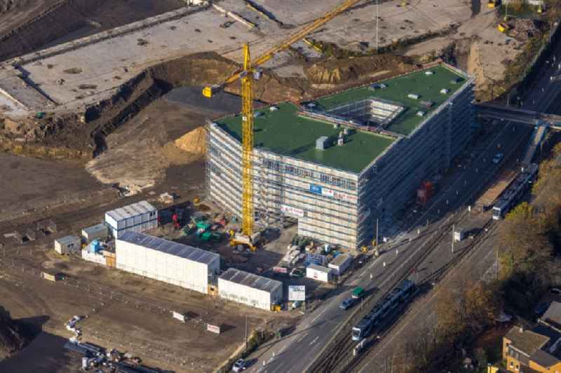 Construction site to build the new building complex of the 'ZESS - Forschungszentrum' on the site of the logistics center in the development area MARK 51 in Bochum in the state North Rhine-Westphalia, Germany