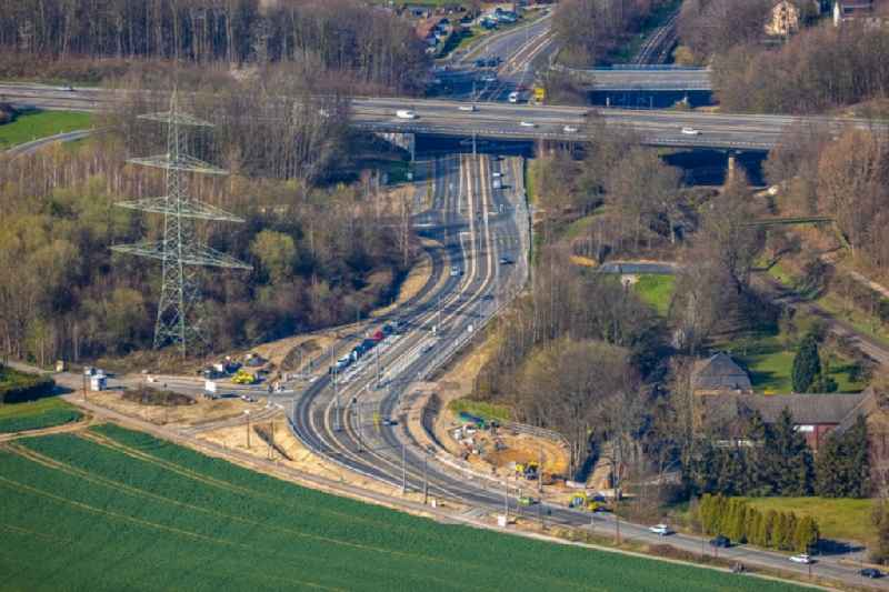 Highway- Construction site with earthworks along the route and of the route of the highway of BAB A44 in Witten at Ruhrgebiet in the state North Rhine-Westphalia, Germany