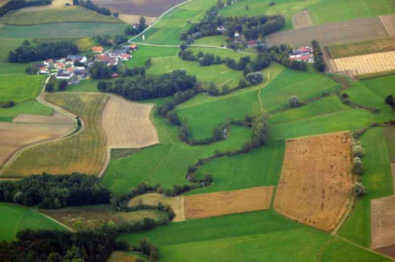 Meandering, serpentine curve of a river Strogen at the district Aurlfing in Bockhorn in the state Bavaria, Germany.