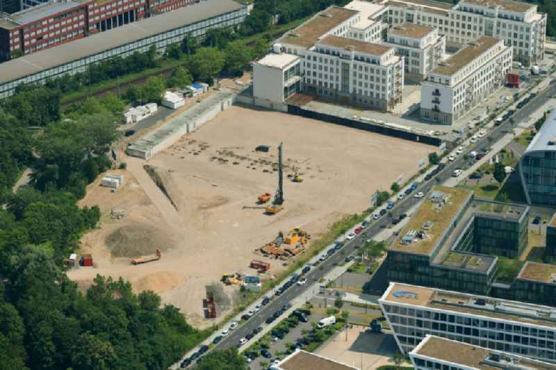 Construction site to build a new multi-family residential complex ' Rhein-Palais-Bonner-Bogen ' on Joseph-Schumpeter-Allee in the district Ramersdorf in Bonn in the state North Rhine-Westphalia, Germany