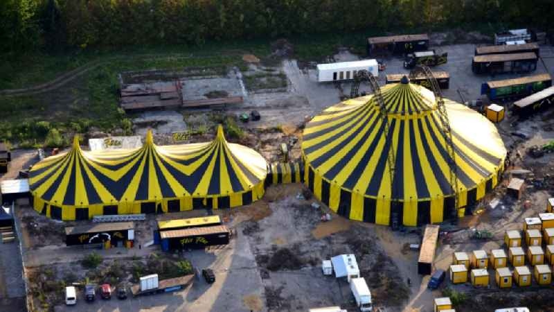 Tent cupolas of the circus 'Flic Flac' in Bonn in the state of North Rhine-Westphalia, Germany