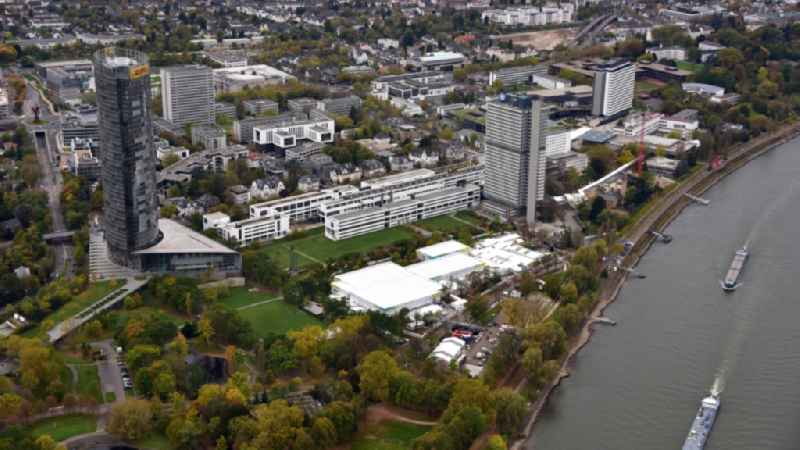 Tent construction and assembly at the venue UN- Climate Conference in the area of the Rheinaue in Bonn in the state North Rhine-Westphalia, Germany