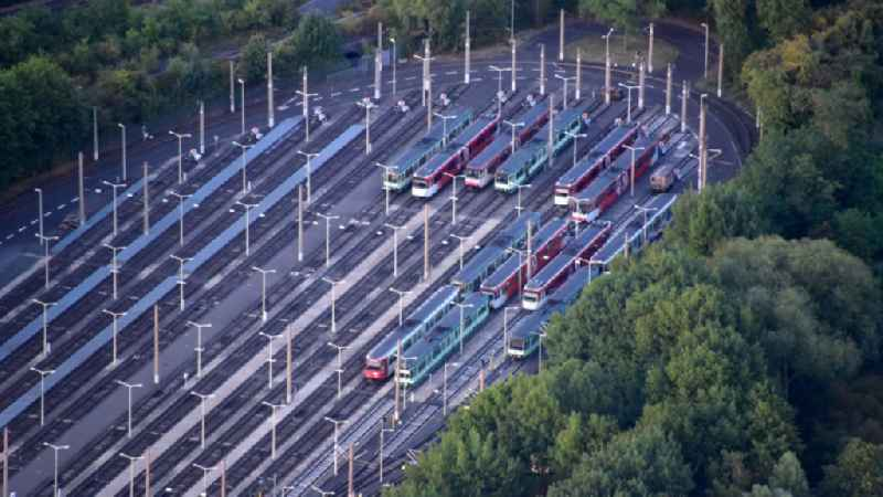 Parked trams in the Dransdorf depot in the state North Rhine-Westphalia, Germany