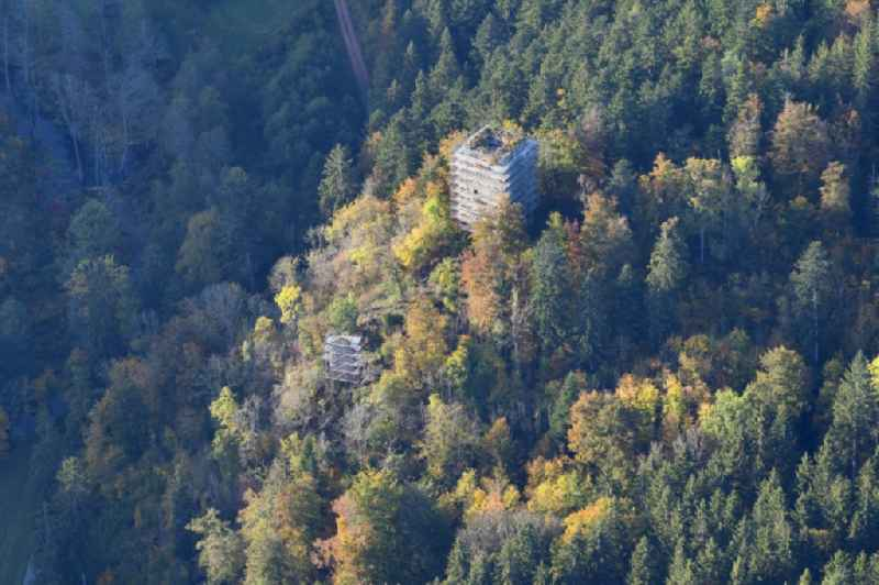Renovation works at the ruins and vestiges of the former castle and fortress Steinegg in the district Wittlekofen in Bonndorf im Schwarzwald in the state Baden-Wurttemberg, Germany.