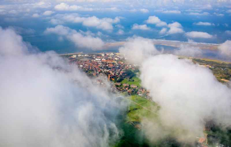 Weather conditions with cloud formation over the North Sea island in Borkum in the state Lower Saxony, Germany