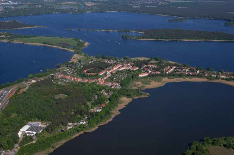 Village on the banks of the area Heiliger See - Moeserscher See in Kirchmoeser in the state Brandenburg, Germany