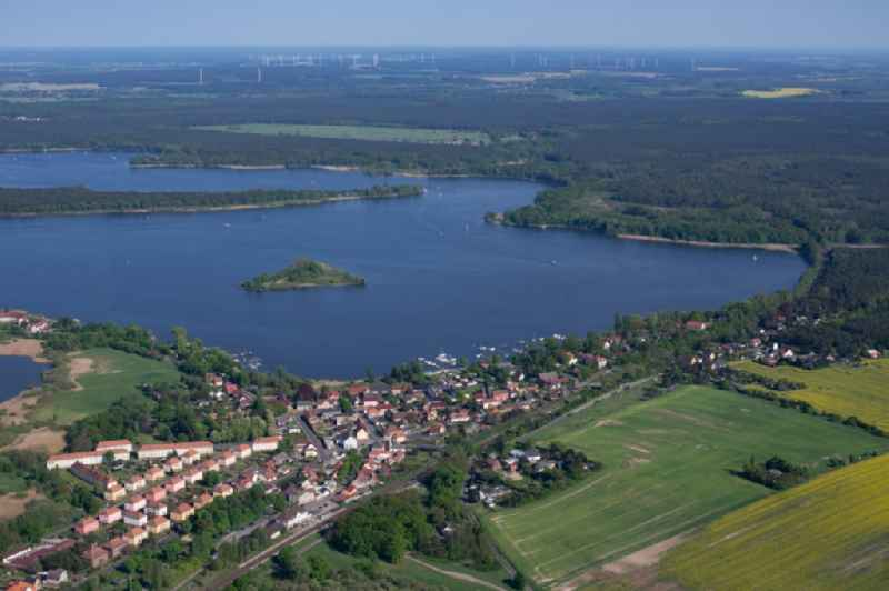 Village on the banks of the area Moeserscher See in Kirchmoeser in the state Brandenburg, Germany