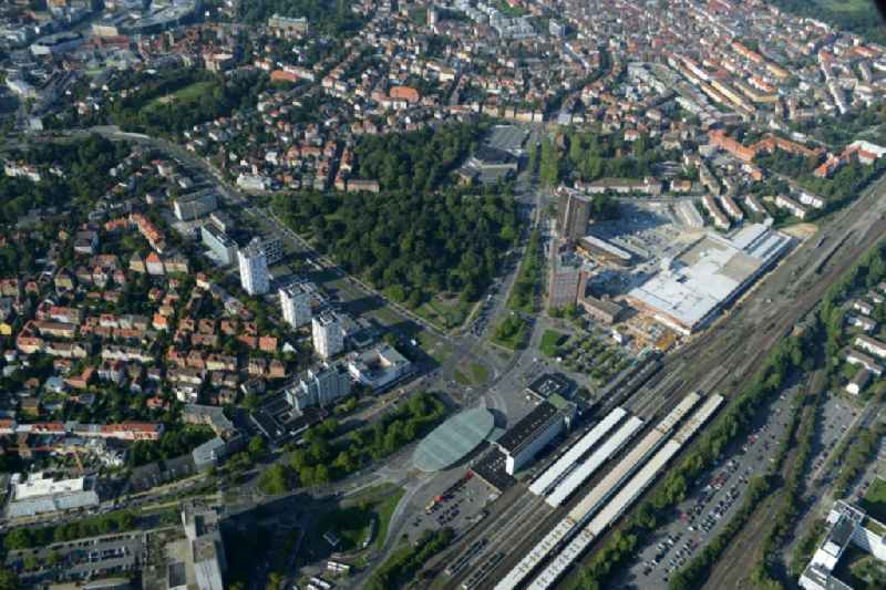 Track progress and building of the main station of the railway in Braunschweig in the state Lower Saxony.