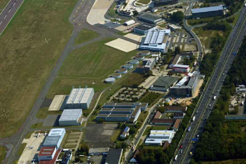 Industrial estate and company settlement on airport in the district Waggum in Brunswick in the state Lower Saxony, Germany