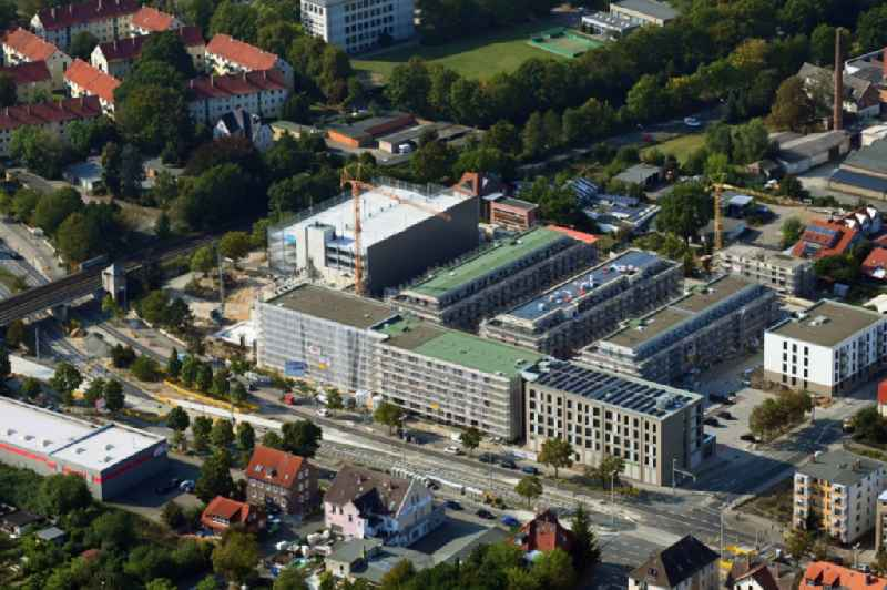 Construction site to build a new multi-family residential complex 'Quartier Berliner Strasse' on Vossenkonp - Otto-Himmel-Weg in the district Wabe-Schunter in Brunswick in the state Lower Saxony, Germany