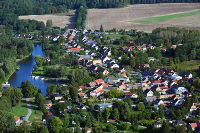 Village on the river bank areas of the Havel in Bredereiche in the state Brandenburg, Germany