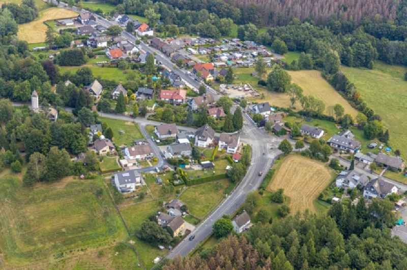 Village view on the edge of agricultural fields and land in Breitenbruch in the state North Rhine-Westphalia, Germany