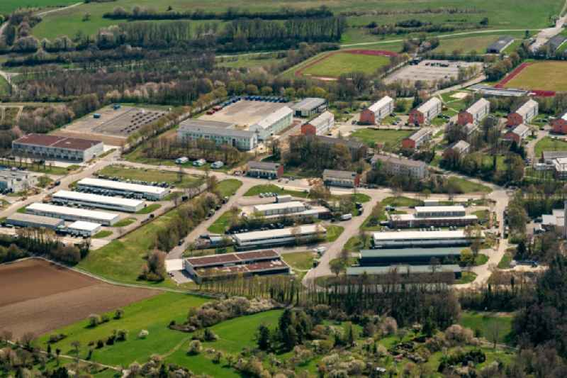 Building complex of the German army - Bundeswehr military barracks a??General-Dr.-Speidel-Kasernea?? in Bruchsal in the state Baden-Wuerttemberg, Germany