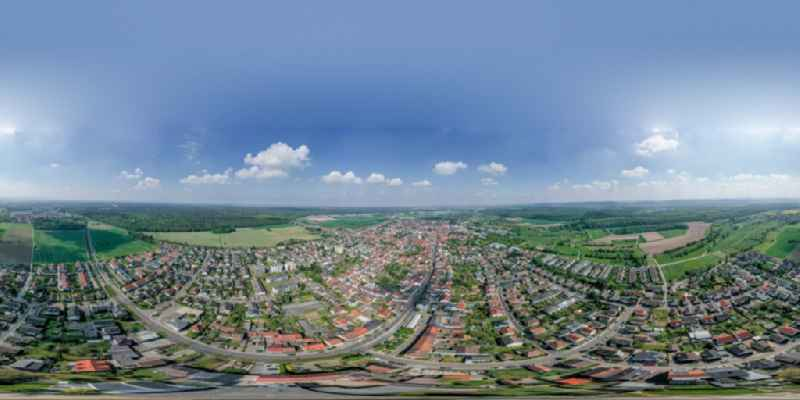 Circumferential , horizontally adjustable 360 degree perspective village view on the edge of agricultural fields and land in Buechig in the state Baden-Wuerttemberg, Germany