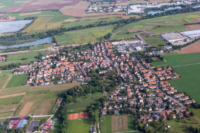 Village view on the edge of agricultural fields and land in Buehl in the state Baden-Wuerttemberg, Germany