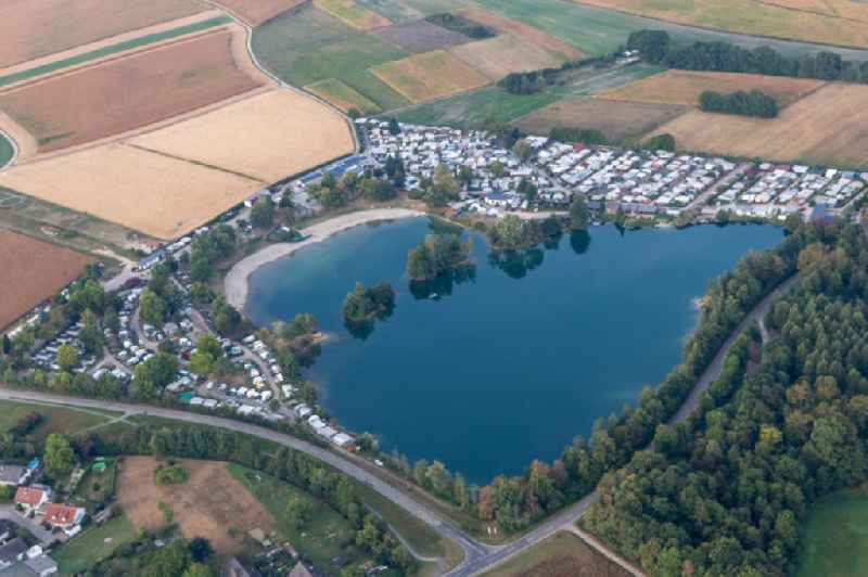 Camping with caravans and tents in the district Oberbruch in Buehl in the state Baden-Wuerttemberg, Germany