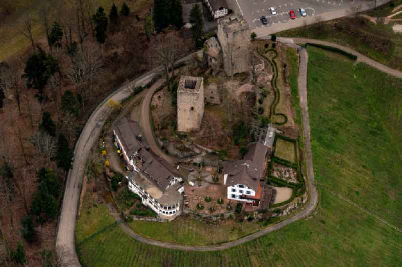 Castle of the fortress Windek Ruine and Hotel in Buehl in the state Baden-Wurttemberg, Germany
