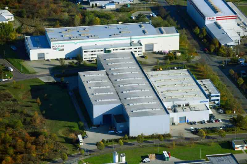 Building and production halls on the premises pro-beam GmbH & Co. KGaA on Lindenallee in Burg in the state Saxony-Anhalt, Germany
