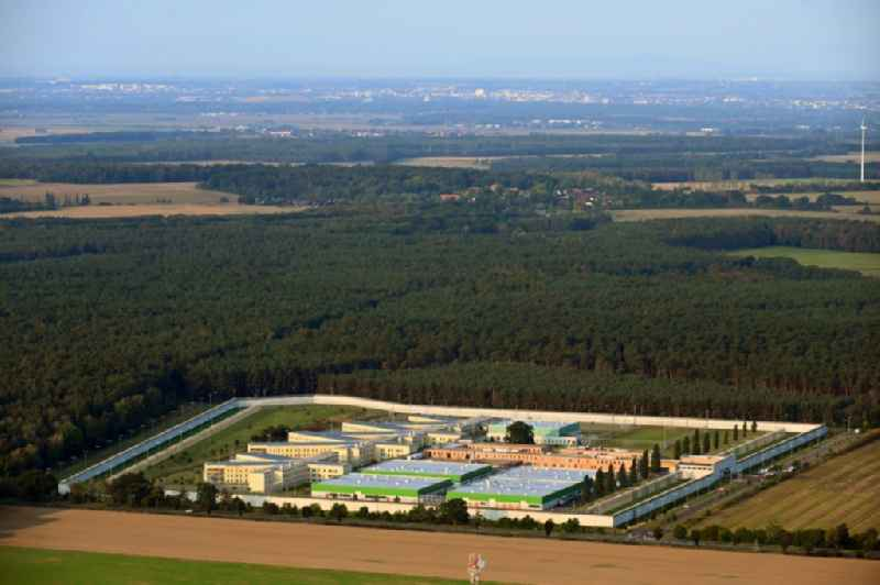 Prison grounds and high security fence Prison in Burg in the state Saxony-Anhalt
