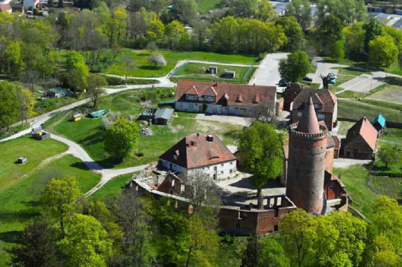 Castle of the fortress Burg Stargard on Burgberg hill in Burg Stargard in the state of Mecklenburg - Western Pomerania. The premises consist of 11 buildings with the large castle keep