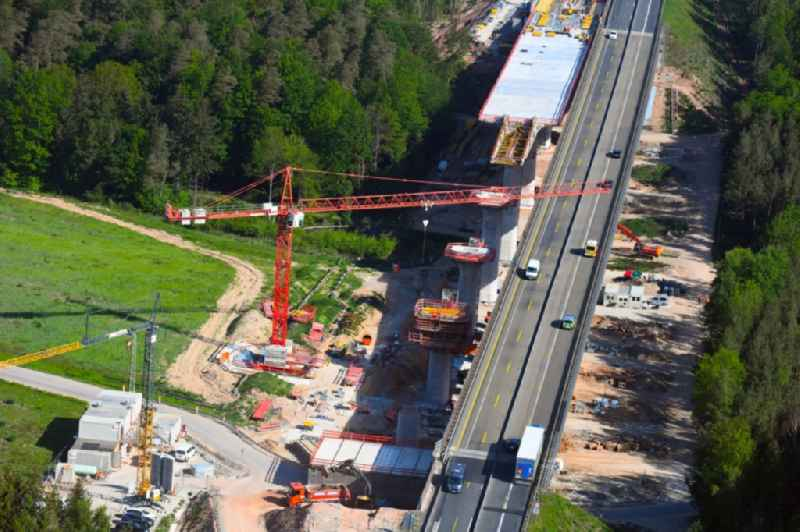 Construction site for the rehabilitation and repair of the motorway bridge construction ' Talbruecke Langenschwarz ' of BAB E45 - A7 in the district Grossenmoor in Burghaun in the state Hesse, Germany