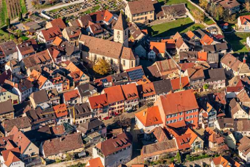 Old Town area and city center in Burkheim in the state Baden-Wurttemberg, Germany
