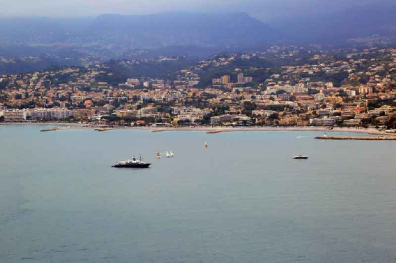 Townscape on the seacoast at the Mediterranean Sea in Cagnes-sur-Mer in Provence-Alpes-Cote d'Azur, France.