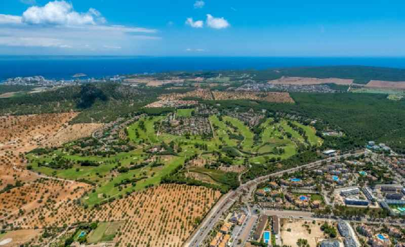 Grounds of the Golf course at 'Golf Santa Ponsa' overlooking holiday home complexes along the Avinguda del Golf in Calvia in Balearische Insel Mallorca, Spain