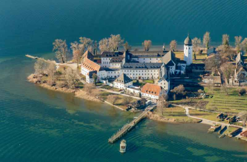 Complex of buildings of the monastery Frauenchiemsee, Frauenwoerth in Chiemsee in the state Bavaria, Germany.