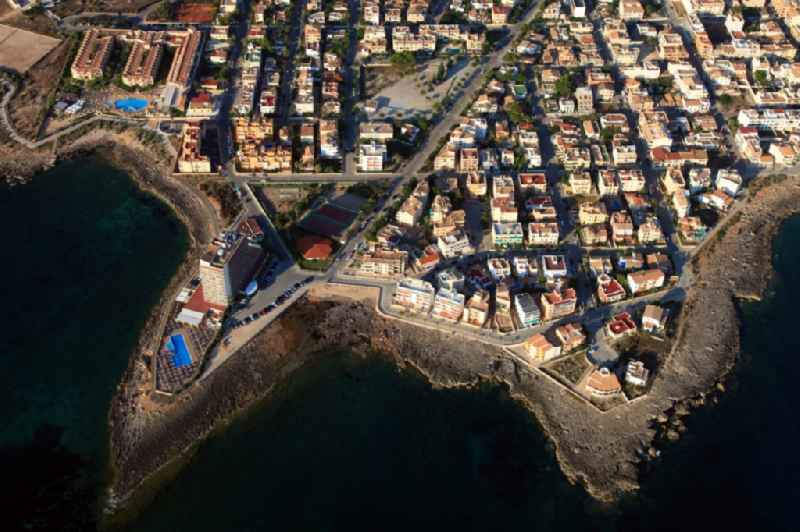 Town center on the sea-coastal area of ??Illes Balerars in Colonia de Sant Jordi in Balearische Insel Mallorca, Spain