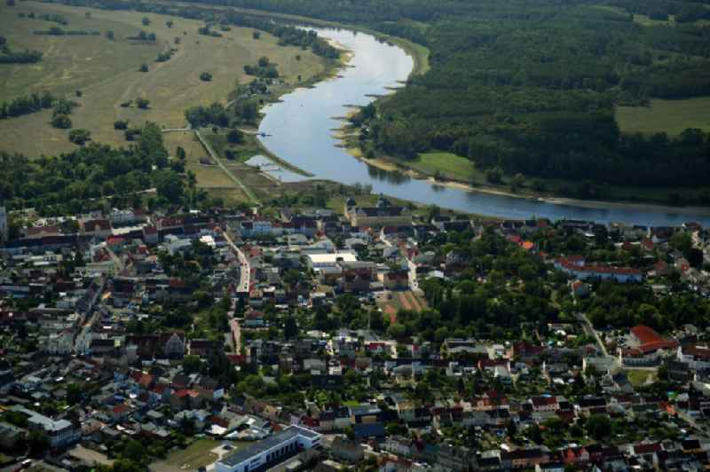 City view on the river bank of the River Elbe in Coswig (Anhalt) in the state Saxony-Anhalt, Germany