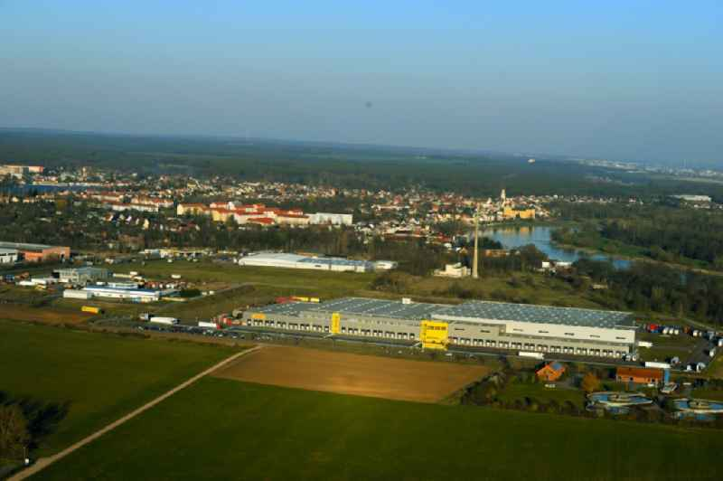 Warehouses and forwarding building ' Netto Marken-Discount ' Am Brennickel in Coswig (Anhalt) in the state Saxony-Anhalt, Germany